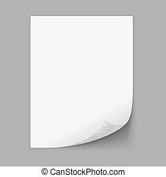 wektor, corner., papier, listek, ufryzowany