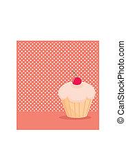 wektor, cupcake, kropka polki, tło