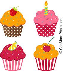wektor, cupcakes, komplet