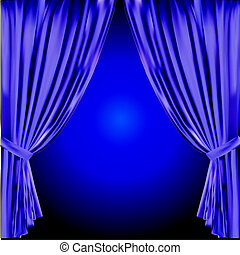 wektor, curtain., illustration., teatr
