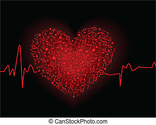 wektor, czarne serce, bębnić, tło, day., barwny, czerwony, ...
