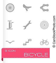 wektor, czarnoskóry, komplet, rower, ikony