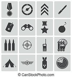 wektor, czarnoskóry, komplet, wojskowy, ikony