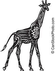 wektor, czarnoskóry, ozdobny, biały, stylizowany, żyrafa