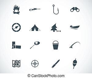 wektor, czarnoskóry, polowanie, ikony, komplet
