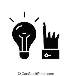 wektor, czarnoskóry, symbol, glyph, posiadanie, pojęcie, poznaczcie., idea, ikona, ilustracja, płaski