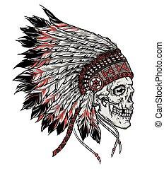 wektor, czaszka, odizolowany, ilustracja, ręka, indianin,...
