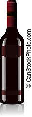 wektor, czerwona butelka, wino