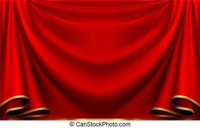 wektor, czerwona firanka