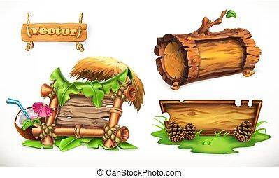 wektor, czuć się, używany, obóz, lato, drewniany, plaża, drewno, lato, ferie, komplet, może, chorągwie, znak, partia., 3d