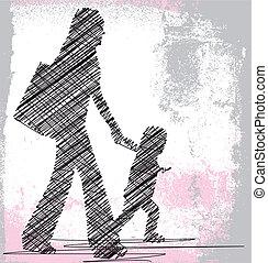 wektor, daughter., mamusia, ilustracja