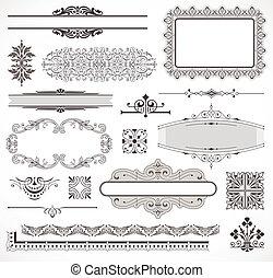 wektor, dekoracje, komplet, strona, elementy