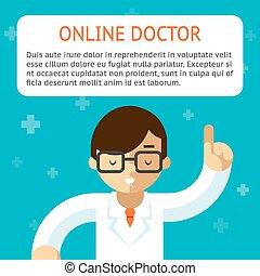 wektor, doktor, ilustracja, online