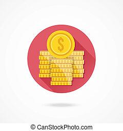 wektor, dolar, stogi, pieniądz, ikona