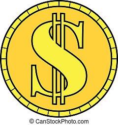 wektor, dolar, złoty biją, znak