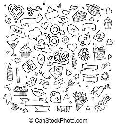 wektor, doodle, komplet, miłość, ikony