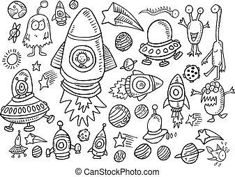 wektor, doodle, komplet, zewnętrzna przestrzeń
