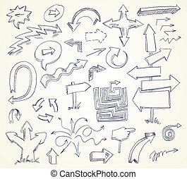 wektor, doodles., hand-drawn., strzała