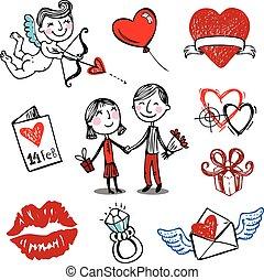 wektor, doodles., valentine