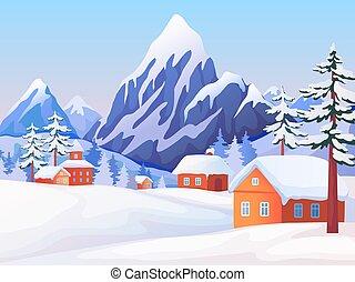 wektor, drewniany, szpice, scena, domy, zima, tło, świerk, krajobraz., góra, natura, drzewa., wiejski, śnieżny