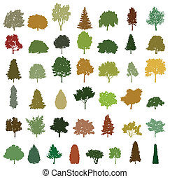 wektor, drzewa., komplet, sylwetka, retro