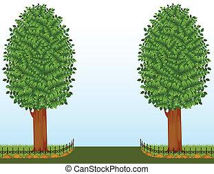 wektor, drzewa, płot
