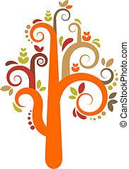 wektor, drzewo, barwny