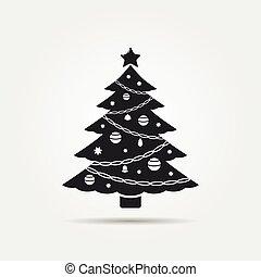 wektor, drzewo, boże narodzenie, ikona