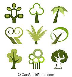 wektor, drzewo, ikony