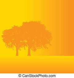 wektor, drzewo, tło