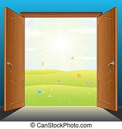 wektor, drzwi, natura
