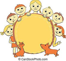 wektor, dzieciaki, chorągiew, ilustracja