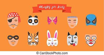 wektor, dzieciaki, zwierzęta, ilustracja, maski