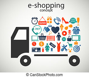 wektor, e-shopping, ikony, pojęcie, ilustracja