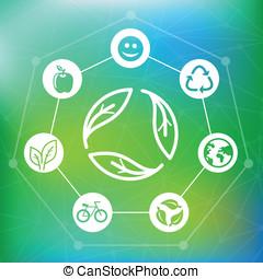 wektor, ekologia, pojęcie, z, przerabianie surowców wtórnych, emblemat