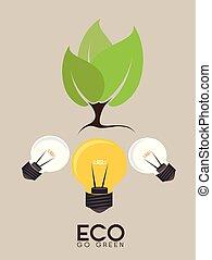 wektor, ekologia, projektować, illustration.