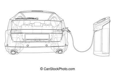 wektor, elektryczny, stacja, pojazd, sketch., ładujący