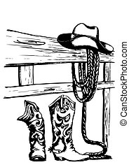 wektor, elementy, kowboj
