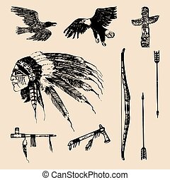 Wektor, elementy, na wolnym powietrzu, plemienny, Ilustracja, Ręka, przygody, indianin,  sketched, portret