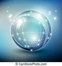 wektor, elementy, sieć, szkło, abstrakcyjny, wireframe, polygonal, kula, oczko
