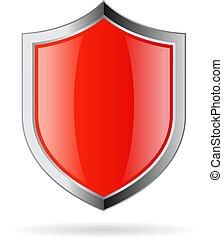 wektor, emblemat, tarcza, czerwony