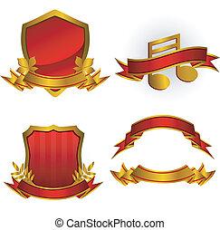 wektor, emblematy, komplet, chorągwie