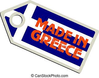 wektor, etykieta, robiony, grecja