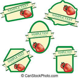wektor, etykiety, owoc