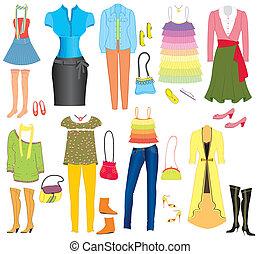 wektor, fason, odzież, i, przybory, dla, weman, dla,...