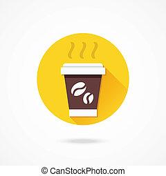 wektor, filiżanka, kawa, papier, ikona