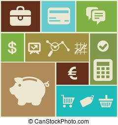 wektor, finanse, handlowe ikony
