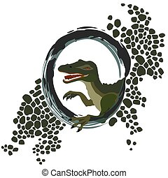 wektor, frame., ilustracja, rysunek, głowa, spinosaurus, owal