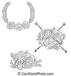 wektor, frames., set., ręka, wieńce, projektować, kwiat, laur, pociągnięty, wreaths., okrągły, elementy