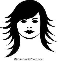 wektor, fryzura, kobieta